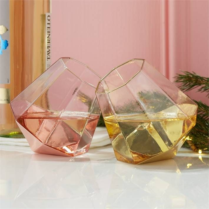 Home Diamond Stemless Glass Lighted Wine Bottles Glass