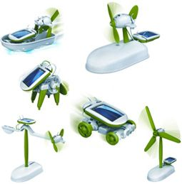 Een fantastisch bouwpakket, bestaande uit 6 mini bouwmodellen op zonne energie.