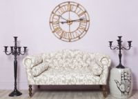 Small Antique Style Beige Sofa with a White Floral Leaf Fabric - Britney