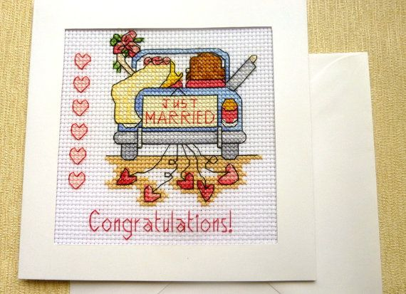 Just Married Couple Wedding Congratulations Card by GillyCrafts