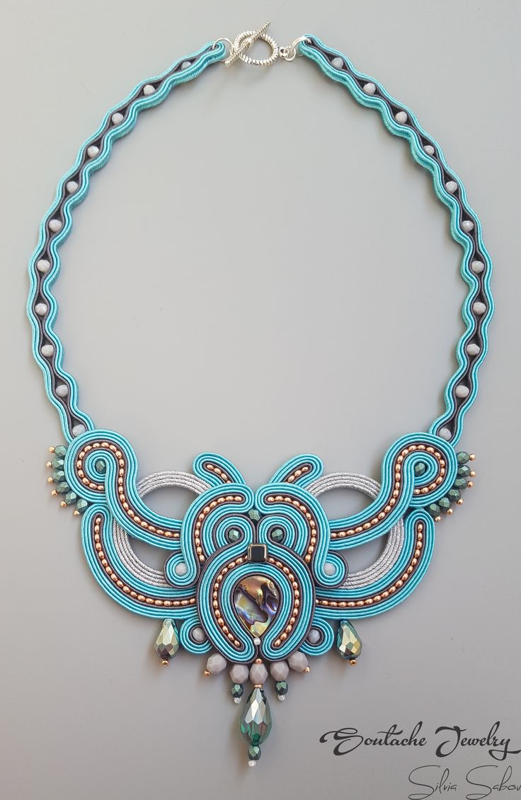 Turquoise Unique Handmade Soutache Necklace
