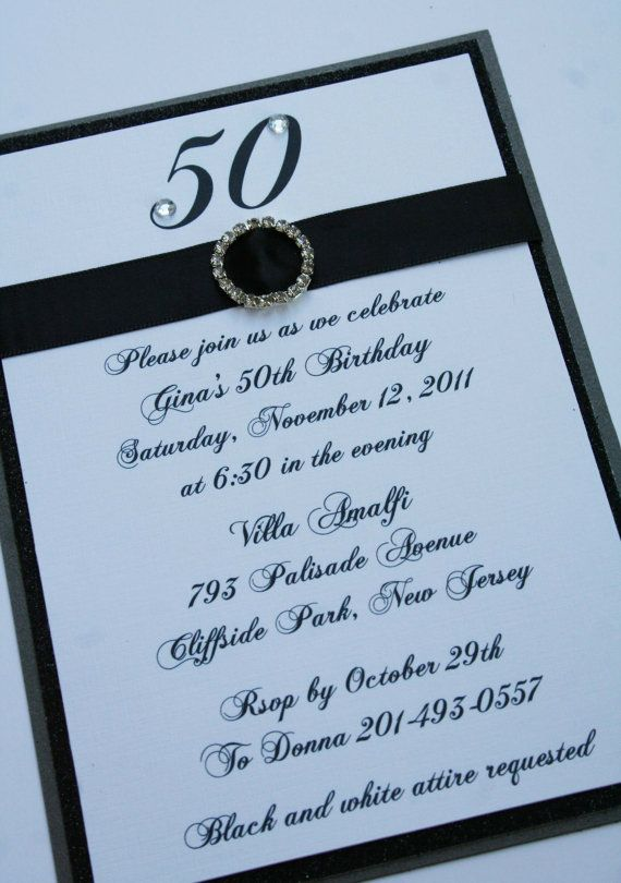 Diy 50th Birthday Invitations 56 Best Black White And Bling Images Wedding Decor