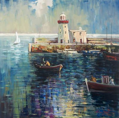 'Howth Harbour' by William Cunningham. Artist William Cunningham, grew up in Crossgar, County Dublin. Willie is highly influenced by his love of horticulture and gardening, and  finds inspiration in his beloved homeland.