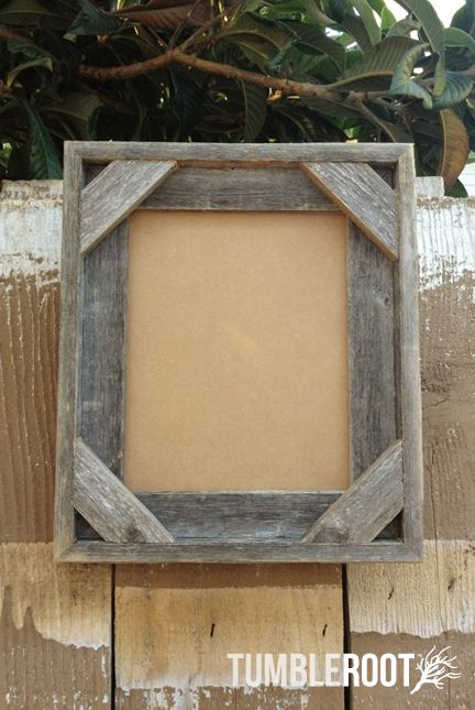 "Reclaimed, up-cycled, handmade rustic barnwood frame. With corner detail. 8x10"" $20"