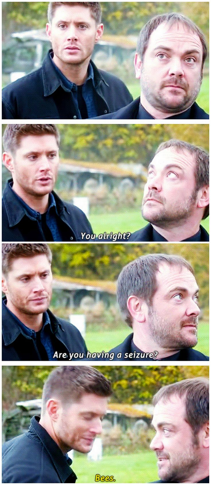 [gifset] Jensen, Mark and the bees :) Season 9 gag reel | Supernatural