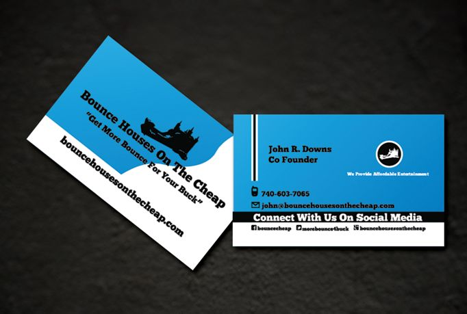 Set of business cards designed by Empowering Technology Inc. for Bounce Houses On The Cheap.