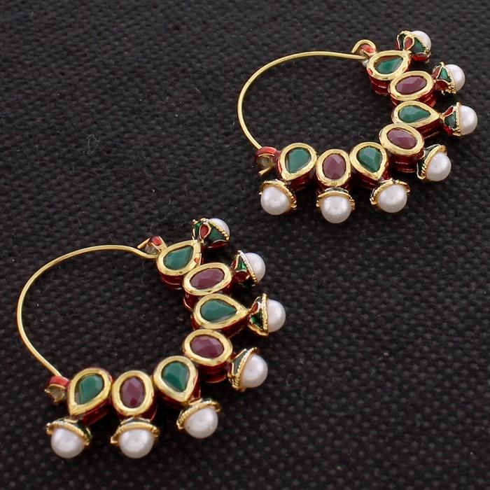 Faux Pearl Simulated Ruby Emerald Kundan Gold Plated  Reversable Hoop Earrings