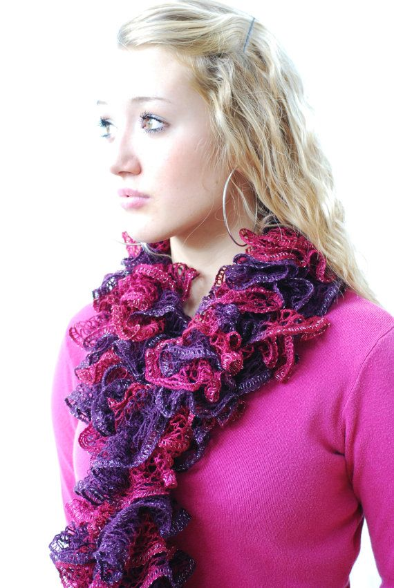 Burgundy Wine and Plum Ruffled Scarf Hand knit in by AquaLumen, $30.00