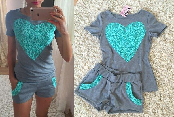 Hot New Women Clothing Set 2016 Ladies Shorts Suit Lace Patchwork Heart Shape T-shirt Short Sleeve Top+Shorts Set Two piece Set