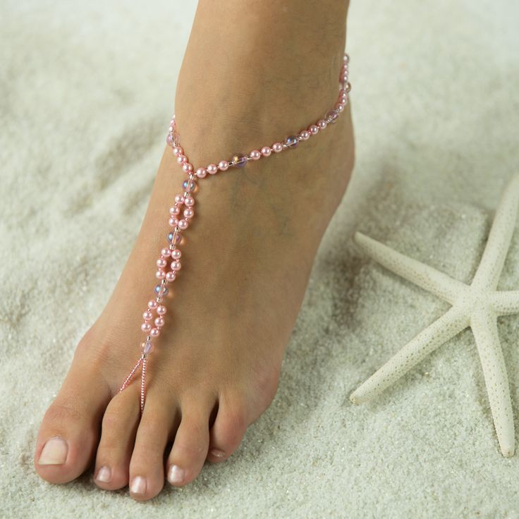 Pretty in Pink, Barefoot Sandals, Foot Jewelry, Wedding Sandals FREE SHIPPING $33.95 Made in all colors! www,beautifulbarefootsandals.com