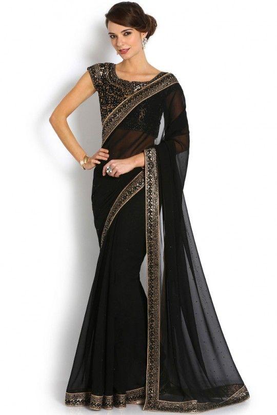 b9b308c197 Buy online Sarees - Soch black & gold georgette saree - stmr sr 13004 from  Soch | Buy soch sarees, black sarees, gold sarees, georgette sarees