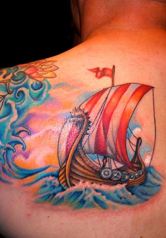 Mallory Swinchock - Viking Ship Tattoo