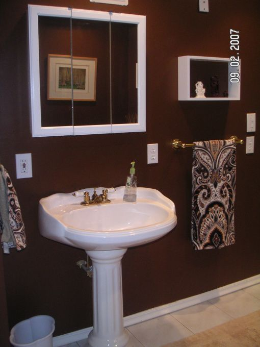 chocolate brown bathroom build a bathroom off a bedroom downstairs rh pinterest com Small Bathroom Paint Color Ideas Small Bathroom Painted Brown