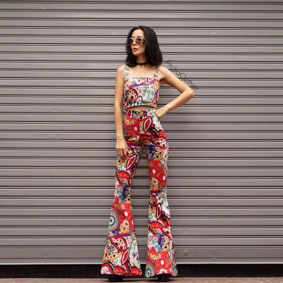 Women's Bohemian red print  70s vintage  high waist bell bottoms pant All size
