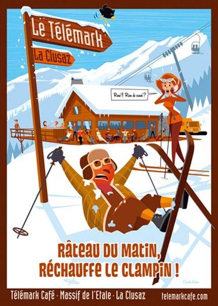 Telemark Café La Clusaz-  Poster