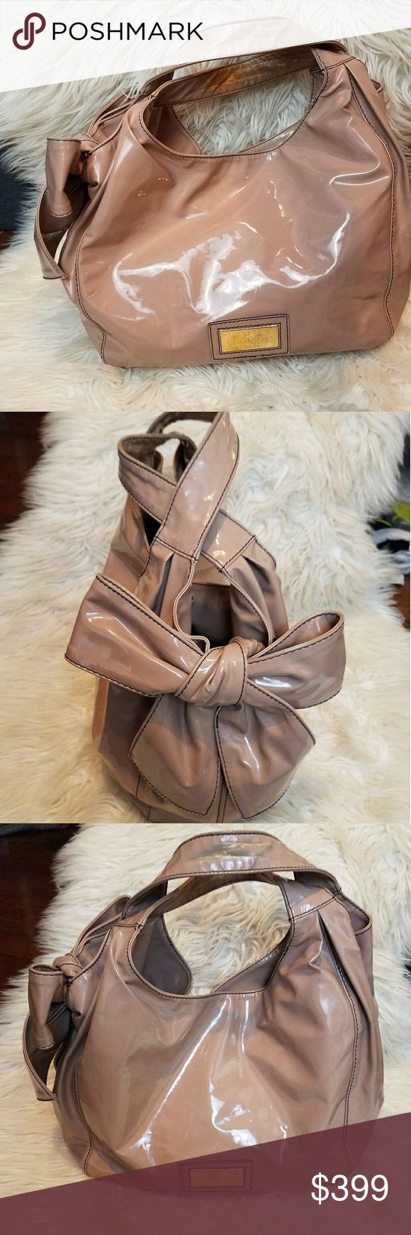 VALENTINO Nuage Bow Patent Leather Hobo VALENTINO 100% Authentic Nuage Bow Patent Leather Hobo in nude / blush. Medium size, will update with measurements! Only wear is a tiny dot on the back and wear on the handles. Valentino Bags Hobos