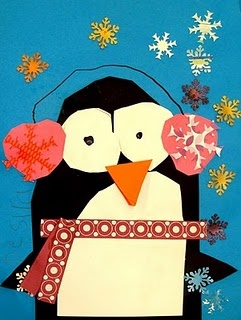 Winter Penguin - Easy to do with ovals, circles, triangles. Good for Kindergarten! Mrs. Picasso's Art Room