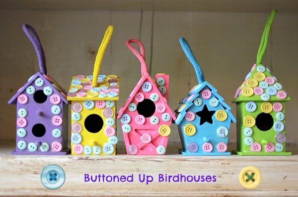 kids crafts | Easy kids craft: buttoned up birdhouses - Mod Podge Rocks
