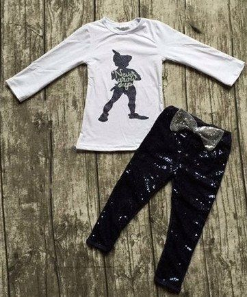 Girls Peter Pan Never Grow Up Outfit with Sequin Front Leggings www.My4Princesses.com