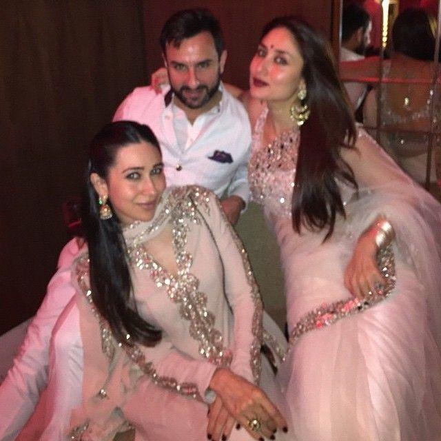 hottest stars of Bollywood #kareena # karishma #saif all shining in white