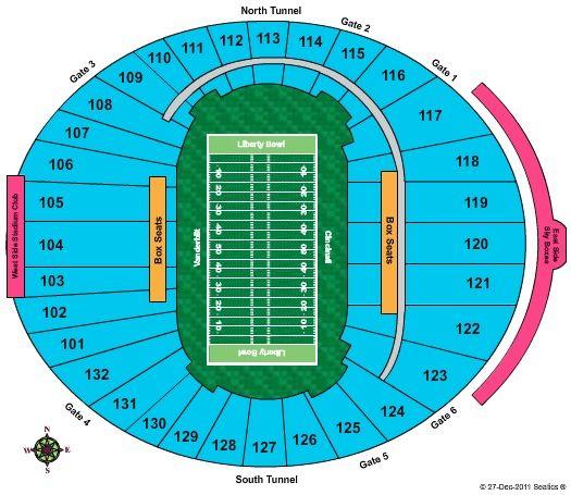 4 Liberty Bowl Tickets, 50 yard line, lower level, half way up