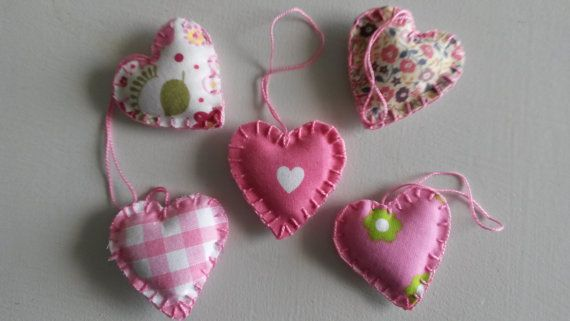 Handstitched little cotton fabric hearts by WillyaCollection on Etsy