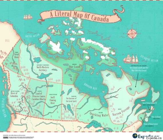 Map Reveals Name Origins Of Canadas Provinces And Territories