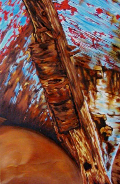 """Hull Of a Boat"" - Oil - 36"" x 24"" - on gallery canvas - $1425."