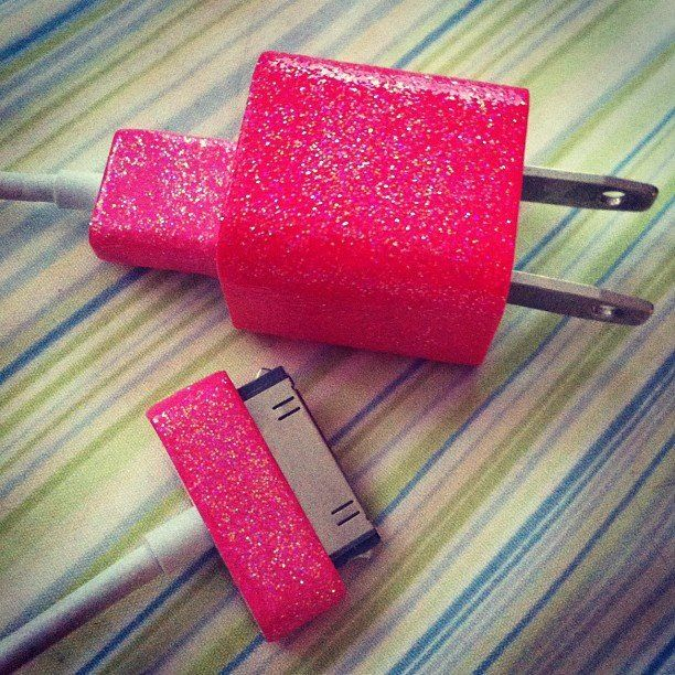 iPhone charger sparkle sparkles cute girly pink red original creative