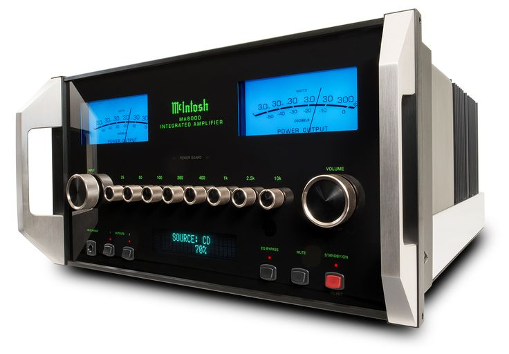 """The McIntosh MA8000 Solid-state Integrated Amplifier. 15 inputs (6 unbalanced, 2 balanced, 2 phono, 5 digital) and 300 watts per channel—all for a healthy $10000. McIntosh has been recently freeing itself from its former """"signature sound"""" (which a lot of people were increasingly unsatisfied with). Steve Huff thinks it's the best integrated amplifier in the world (read his review here…"""