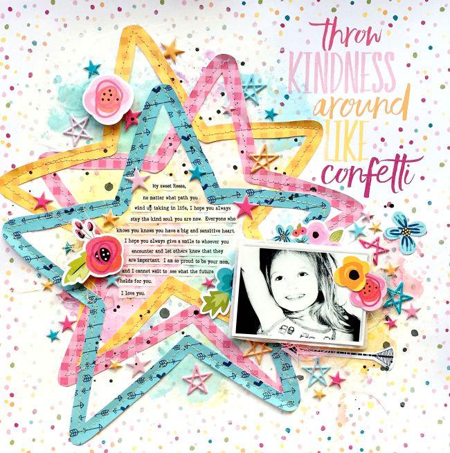 Bella Blvd Throw Kindness Around Like Confetti Scrapbook Layout by Missy Whidden
