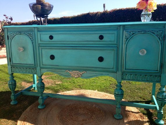 Hand painted vintage buffet table - in dining room, under window, in between matching book shelves - valence on window
