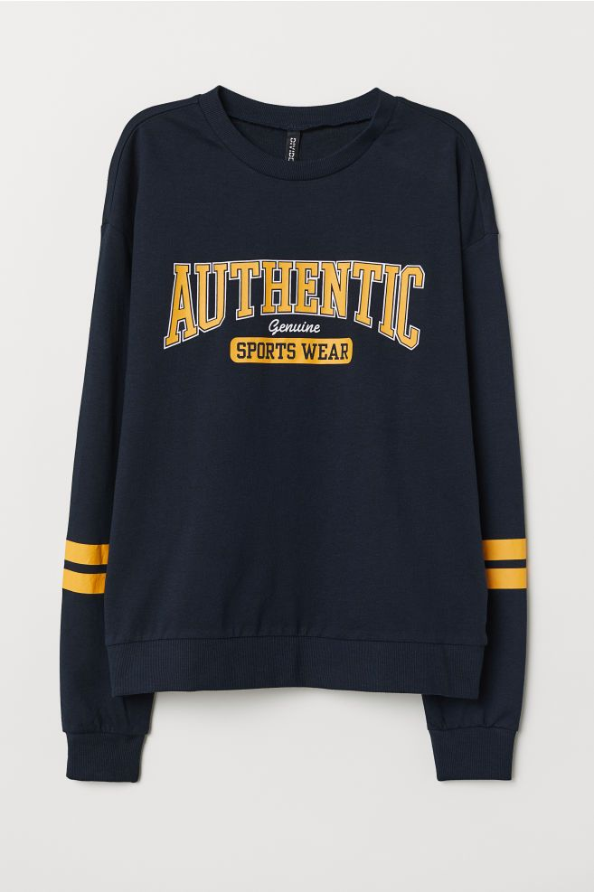 b40f3516 Sweatshirt with Printed Design - Dark blue/Authentic - Ladies | H&M US 1