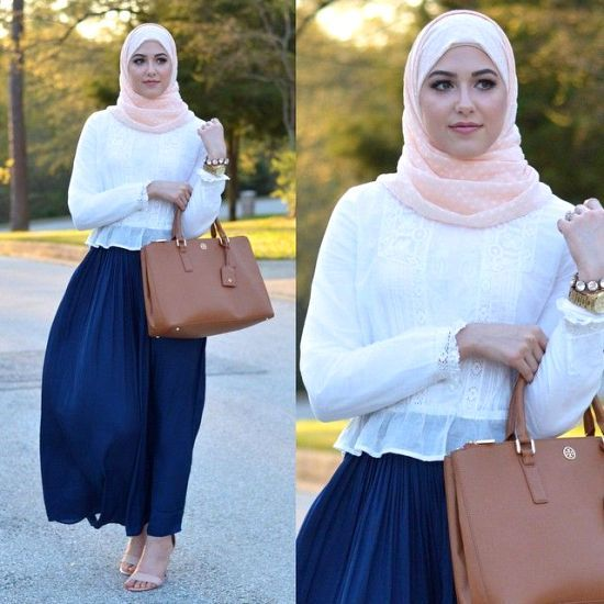 lace white top with skirt, Classy hijab outfits http://www.justtrendygirls.com/classy-hijab-outfits/