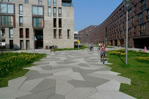 Funenpark amsterdam, europe, courtyard paving