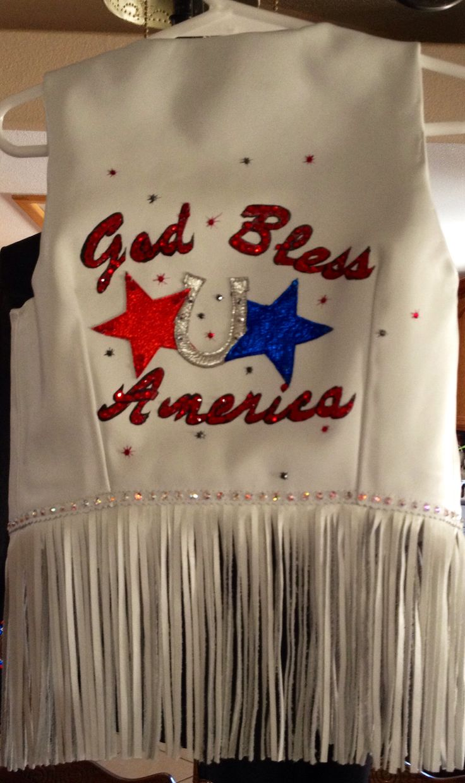 Let's Rodeo vest- back side God Bless America