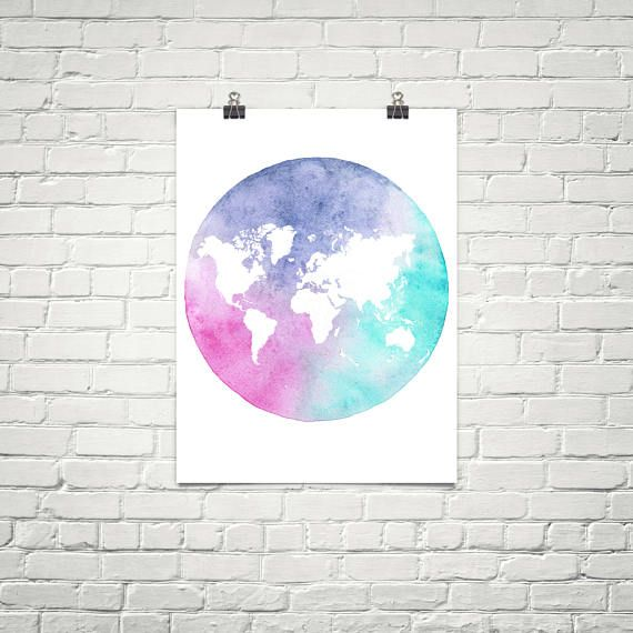 Colorful map poster. Map of the world. Map art. World map wall