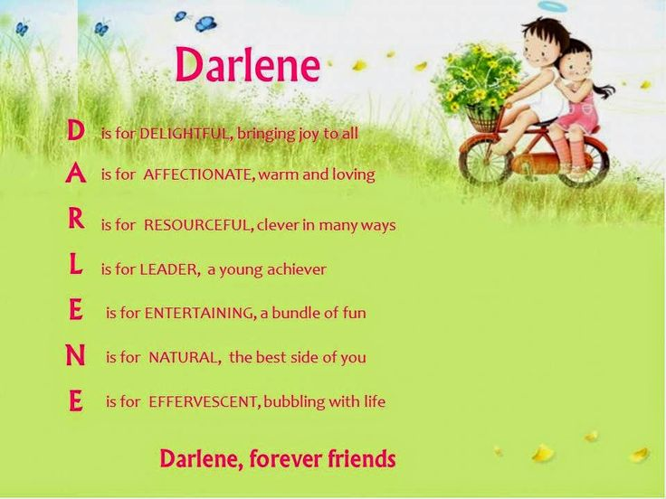 Acrostic Name Poems For Girls Darlene Poems About Girls