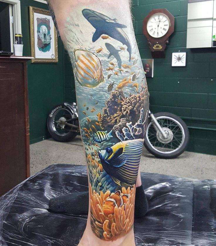 Coral Reef done by Ben Kaye - Ship Shape Tattoo Orewa New Zealand Japanese tattoo sleeve btctrader1.weebly.com