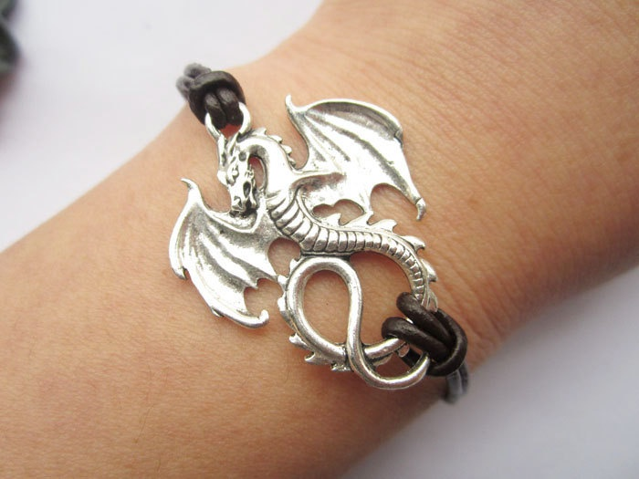 Bracelet---antique silver dragon & brown leather chain