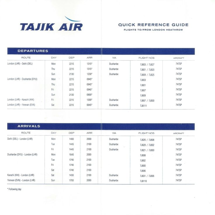 Inside pages of timetable of Tajik Air, the national airline of the Republic of Tajikistan from its short-lived operation (Dec 93-Feb 94) between London and Dushanbe, Tajikistan.