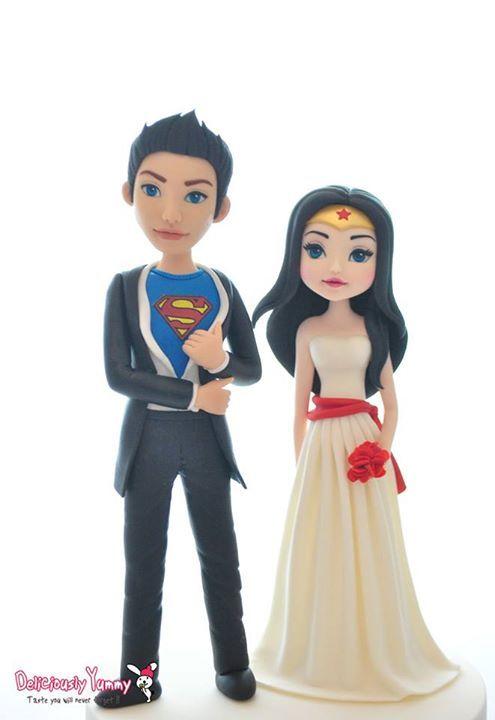 Superman Wonderwoman Wedding Bride Groom Cake Toppers Figurines by Deliciously Yummy Sydney