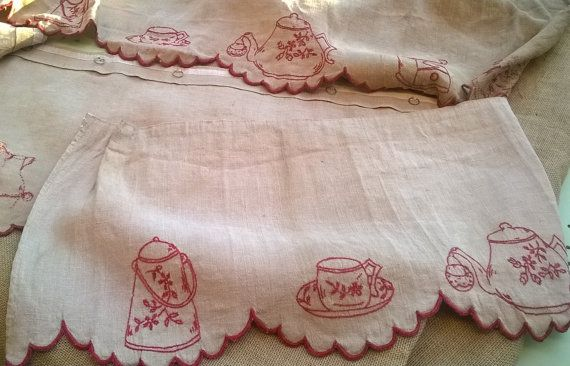 Victorian Valance French Country Kitchen Café Curtain 1880's Red Hand Embroidered Natural Linen Made Tea Cup Coffee Grinder Café Home Decor