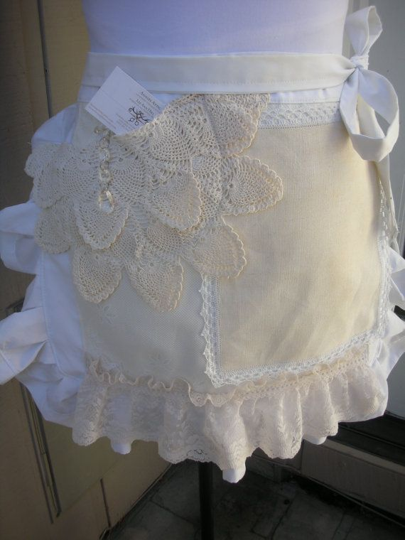 Aprons with Lace Handmade  by AnniesAttic - ideas for adding wedding dress to an apron