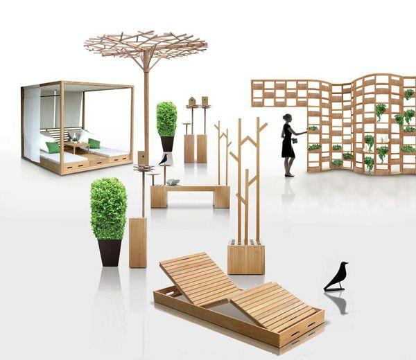 Wooden outdoor furniture designs by deesawat green wall for Stick furniture plans