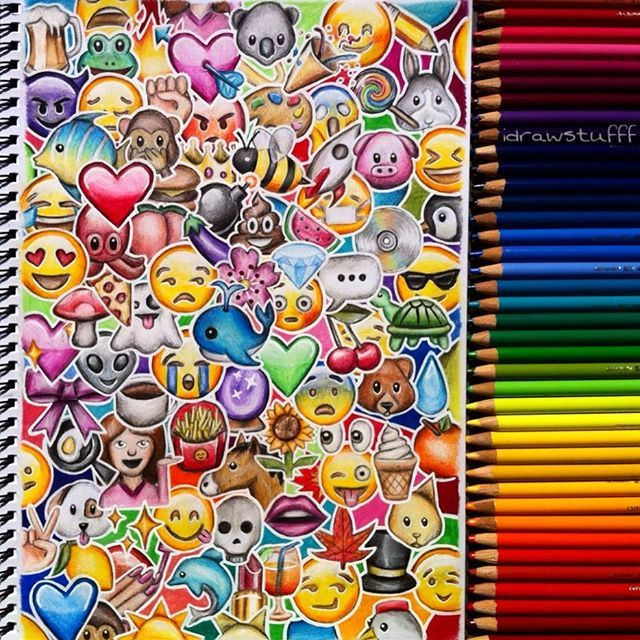 Repost of my emoji drawing bc I didn't like the last pic  You're probs bored of this by now but it's one of my fave drawings bc it's so colourful  What is your favourite emoji in this pic?  I like  and