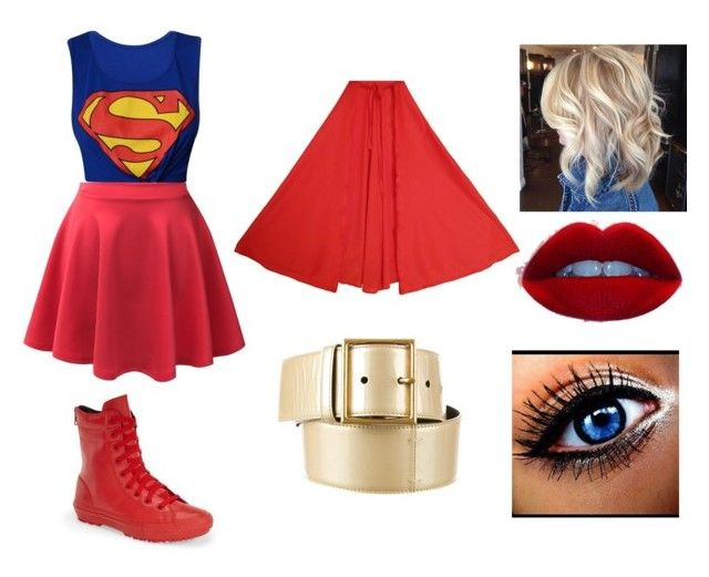 """""""Superwoman Diy Costume"""" by ali-gator-808 ❤ liked on Polyvore featuring LE3NO, Converse and Yves Saint Laurent"""