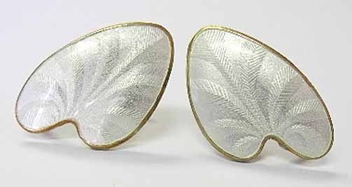 Sterling White Enamel FINN JENSEN Leaf / Heart Earrings ~ Vtg Norway ~ Guilloche