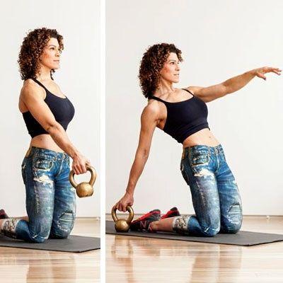 con la pesa rusa..en este ejercicio..involucras: brazos,abdomen, glúteos cuadriceps y femoral...