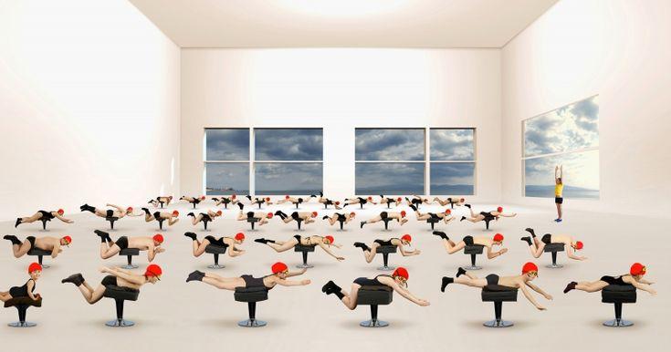 Muriel Bordier - la leçon de natation - les thermes - 2014